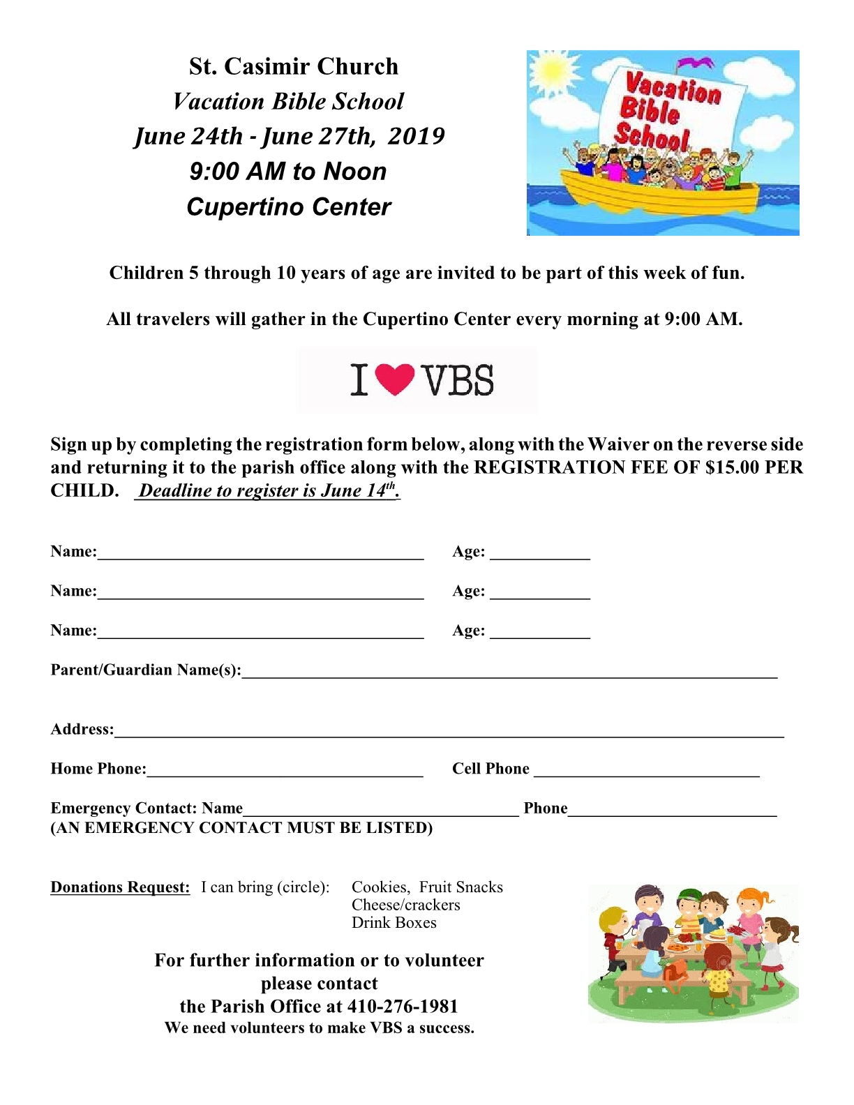 VBS at St  Casmir | St  Elizabeth of Hungary Catholic Church